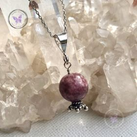 Pink Tourmaline Crystal Ball Pendant